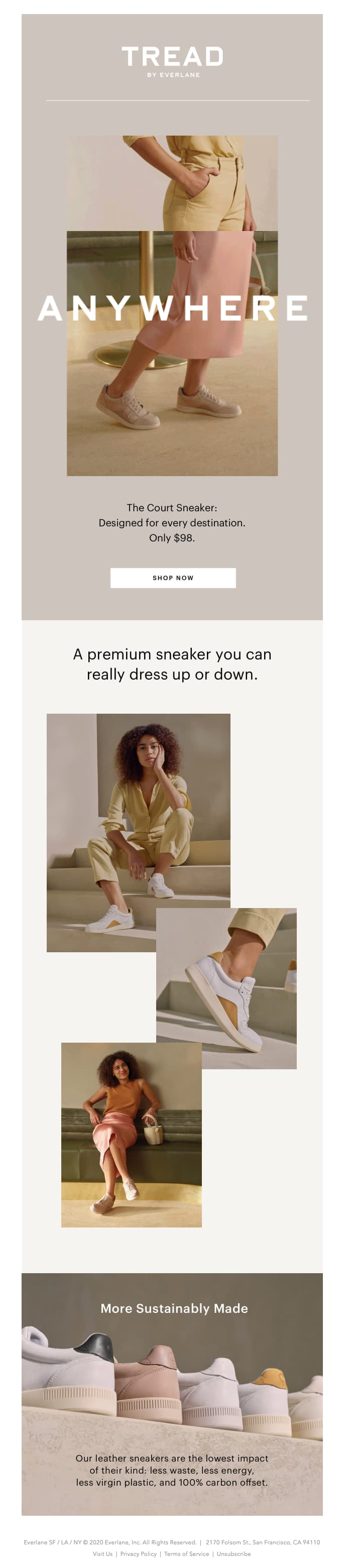 everlane court sneaker product line announcement email
