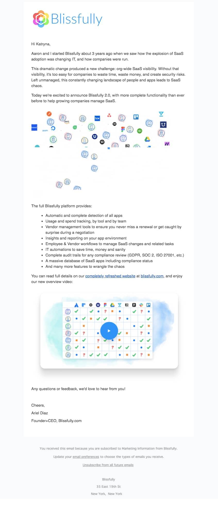 blissfully 2.0 product relaunch announcement email with message from founder