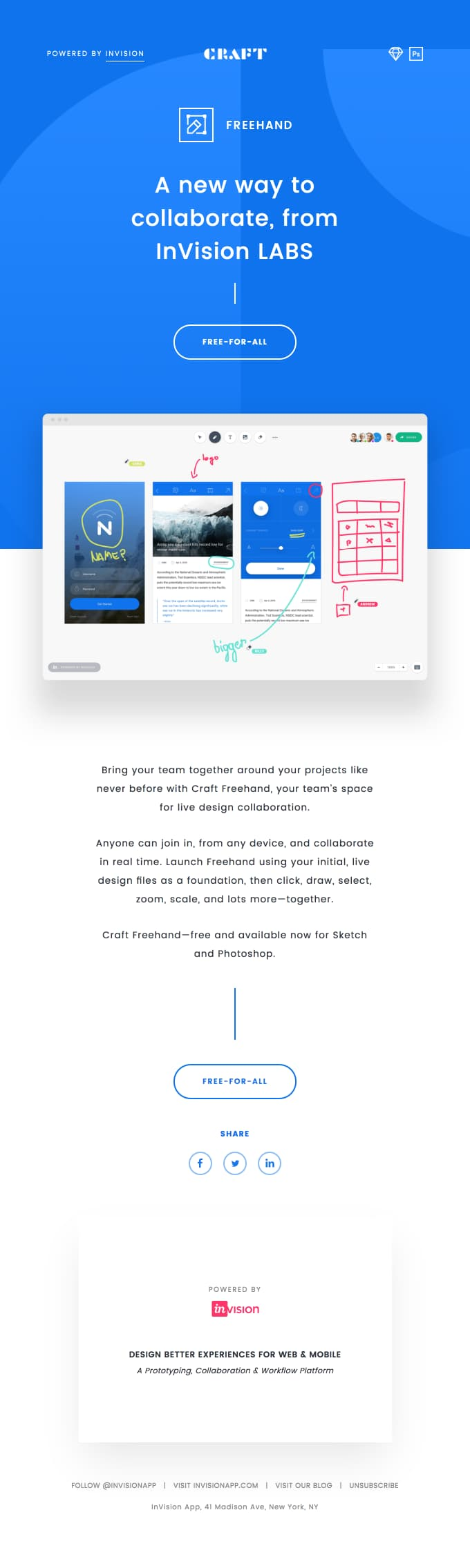 invision product feature launch email example