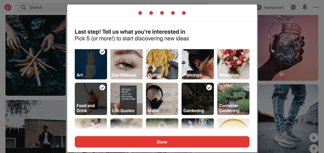 this is a screenshot image of a user onboarding experience in which the user is asked to select interests to improve their customized personalized UX