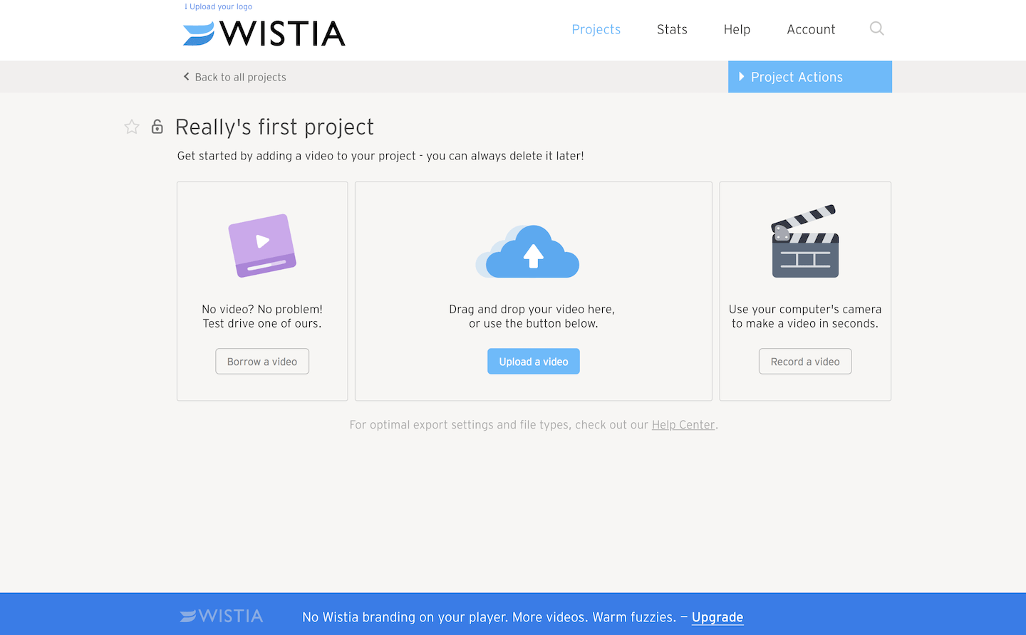 Wistia new video project upload example of a test file in user onboarding to make it easier to get started. An example of good UX for onboarding