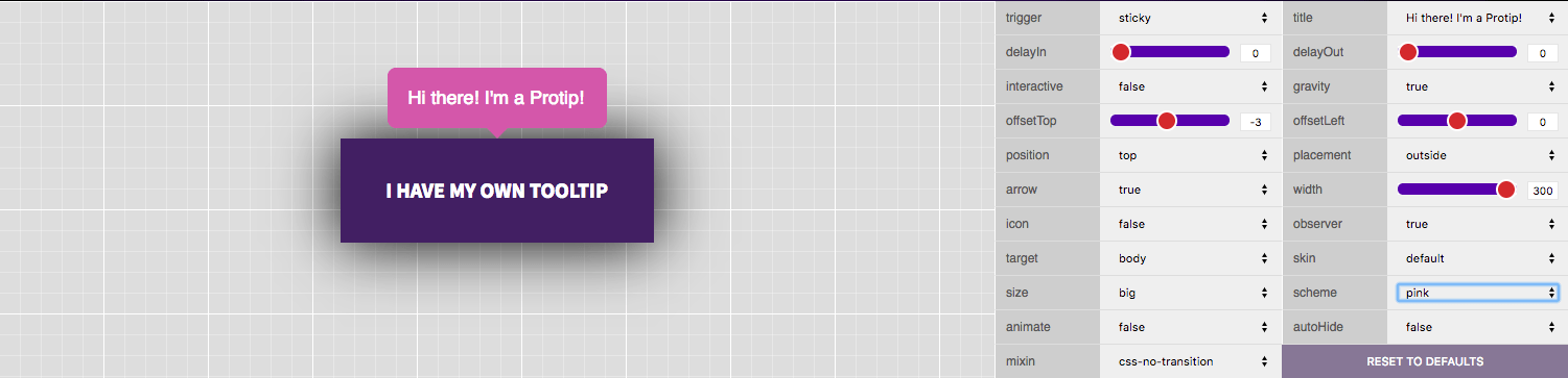 This is a tooltip demo page. It shows a customizable jquery tooltip with an editor with multiple settings like trigger arrow title target animate mixin observer width scheme etc.