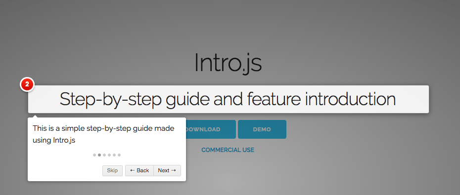 This is a feature introduction tour with spotlights and tooltips. It is a step by step guide made using javascript tooltips. It has numbered tooltips and focus areas.