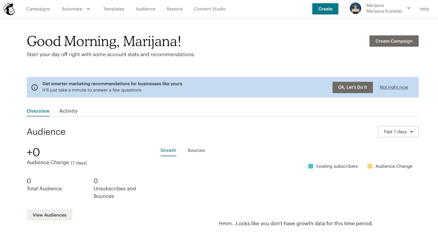 mailchimp personalized dashboard in-app message