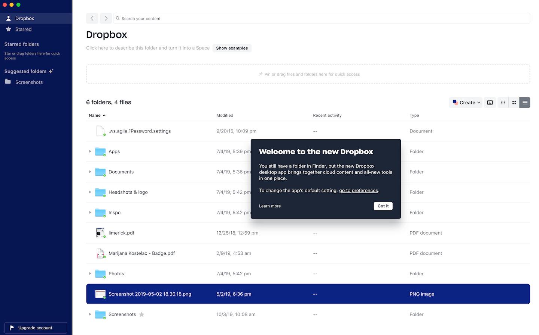 dropbox desktop app in-app welcome modal message