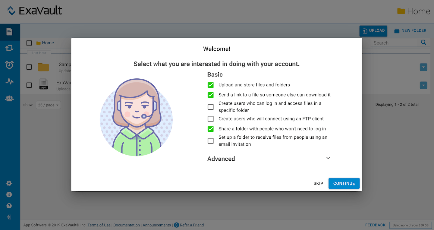 welcome modal in-app message personalizing checkbox user goals