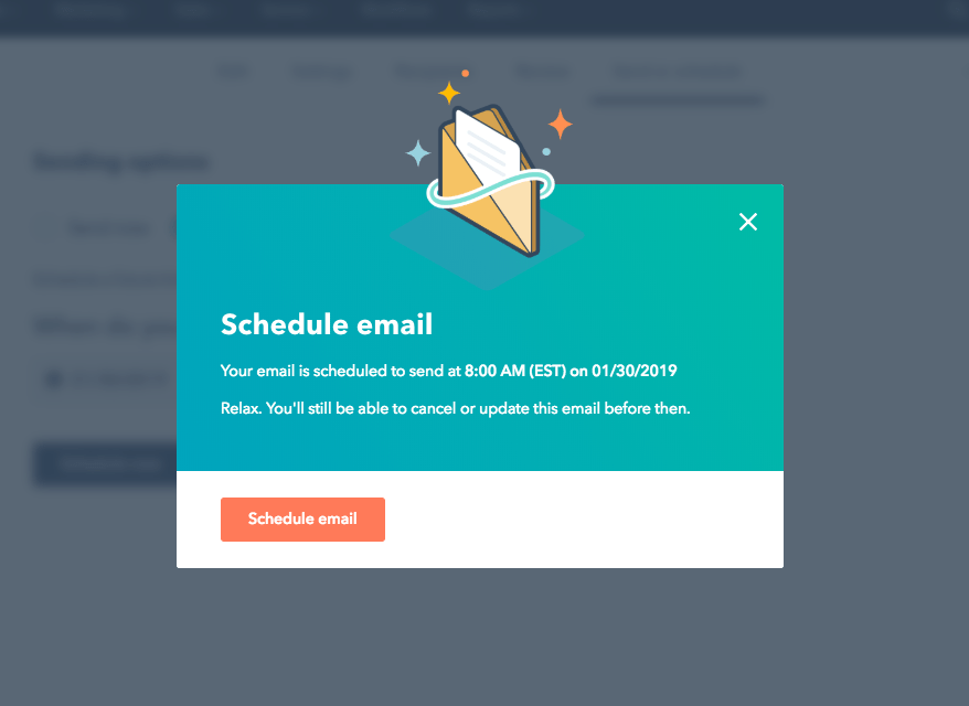 hubspot modal window schedule email confirmation good UX