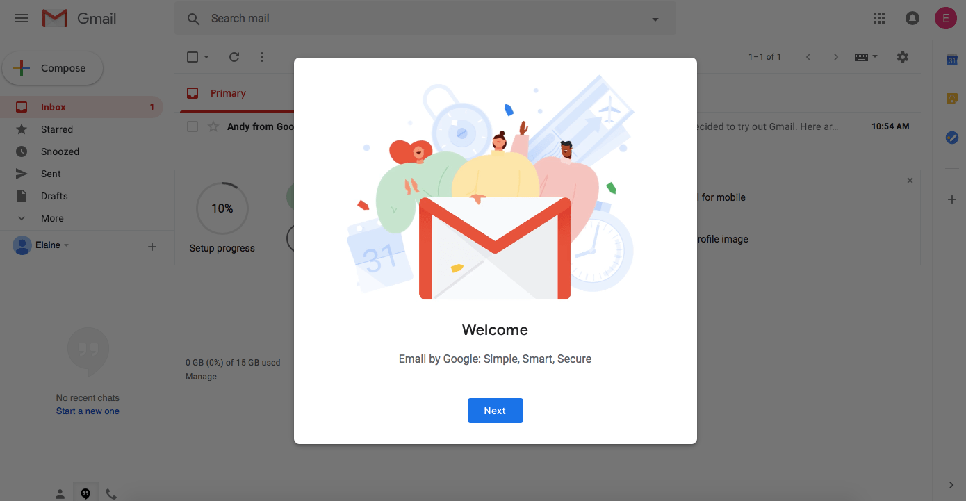 This is a screenshot of gmail's new user welcome message modal, with an illustration of 3 people behind the gmail logo.