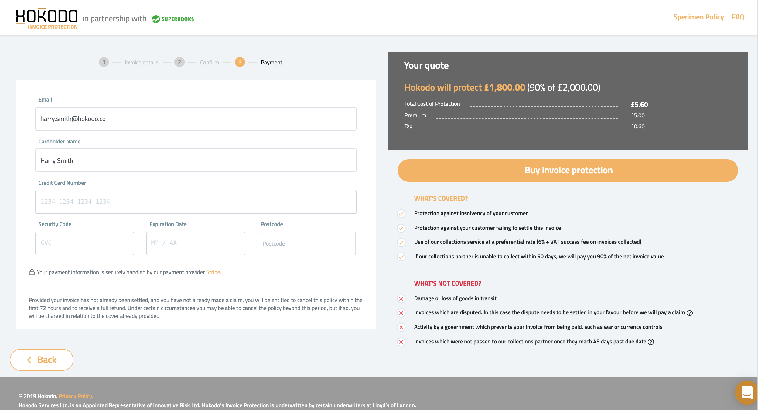 Screenshot buy insurance