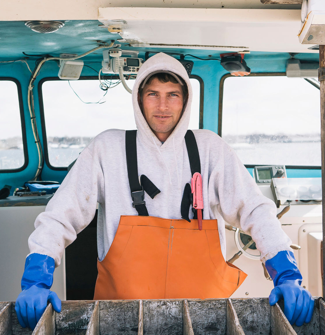 Image of a man on a cargo ship