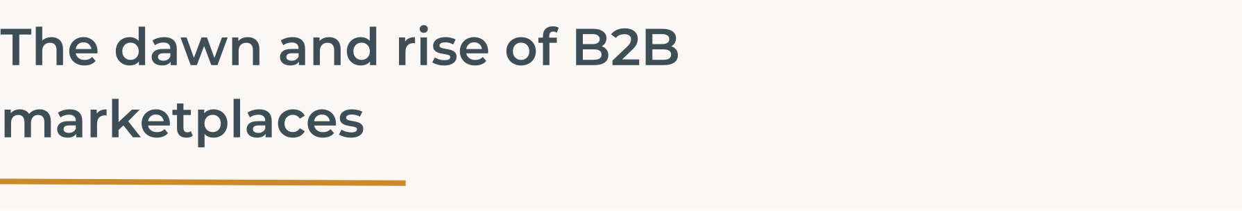 The dawn and rise of B2B marketplaces