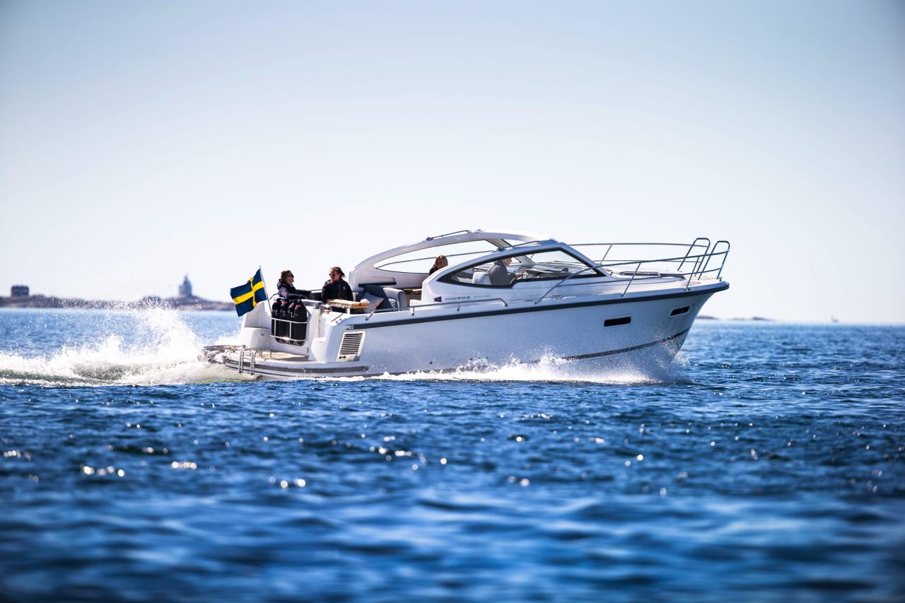 Nimbus boat cruising through the water