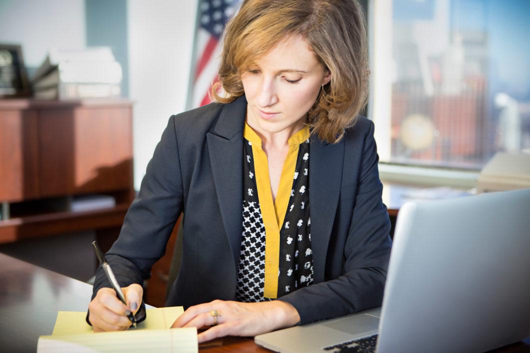 Jennifer Gerstenzang working at her desk
