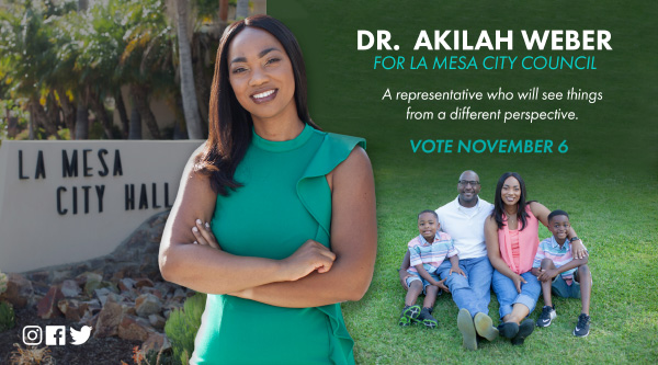 Akilah Weber for La Mesa City Council mailer