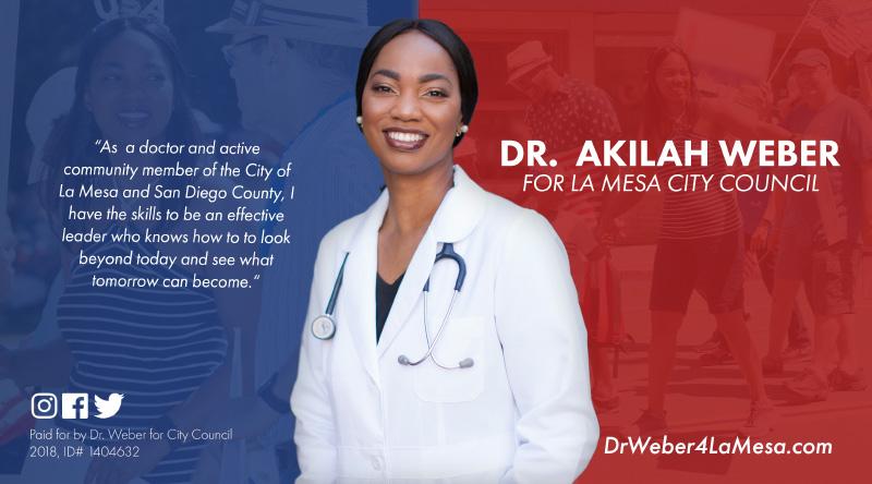 Political Mailer for Dr. Akila Weber's campaign