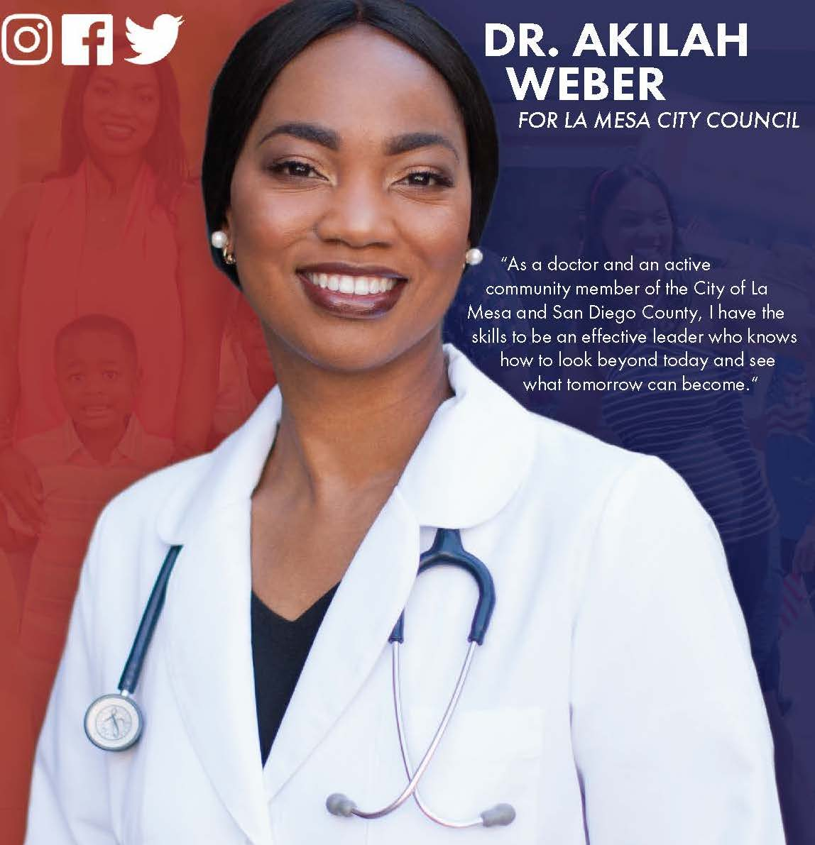 A mailer created for Dr. Akilah Weber's City Council campaign.