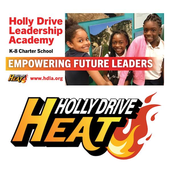 Holly Drive Leadership Academy billboard and logo