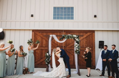Brides Kiss Richland Michigan Wedding Photography