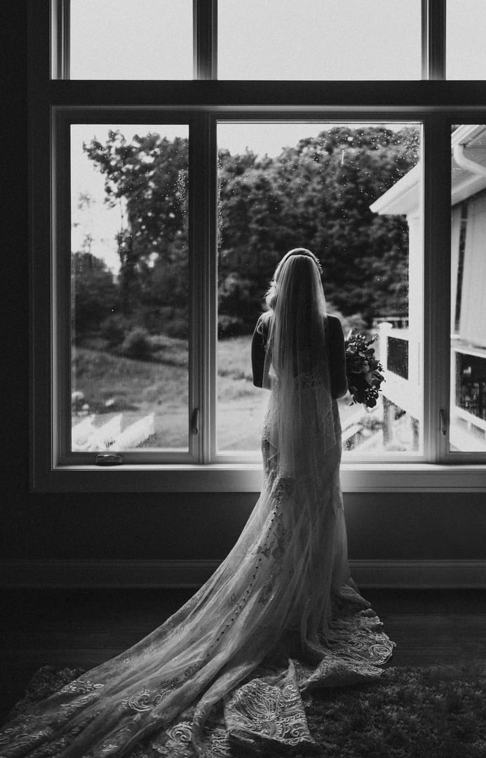 Bnw Bride Window Richland Michigan Wedding Photography