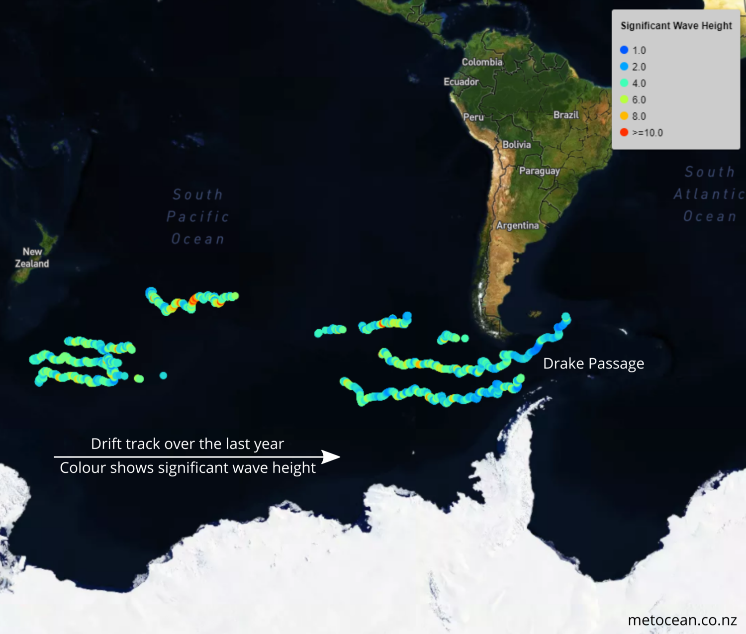 DRIFT TRACK AND SIGNIFICANT WAVE HEIGHTS MEASURED OVER THE LAST year.