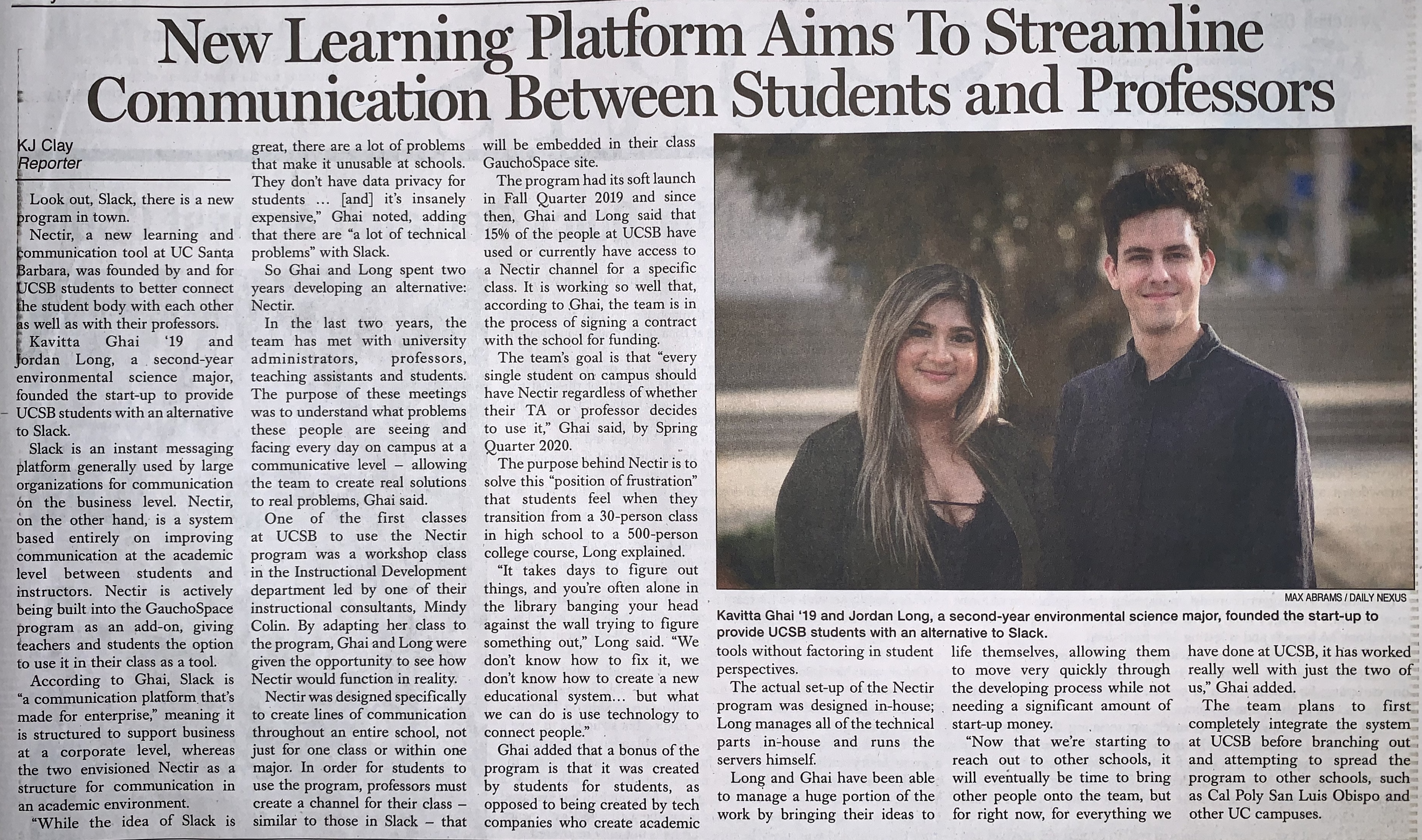 A picture of an article from the Nexus newspaper on the founding of Nectir at UCSB.