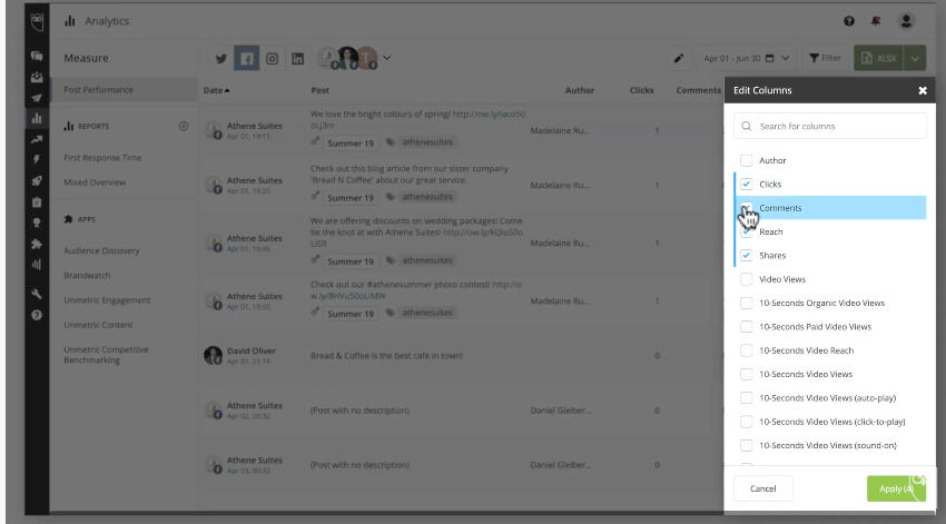 Hootsuite平台貼文成效報表可以自訂指標