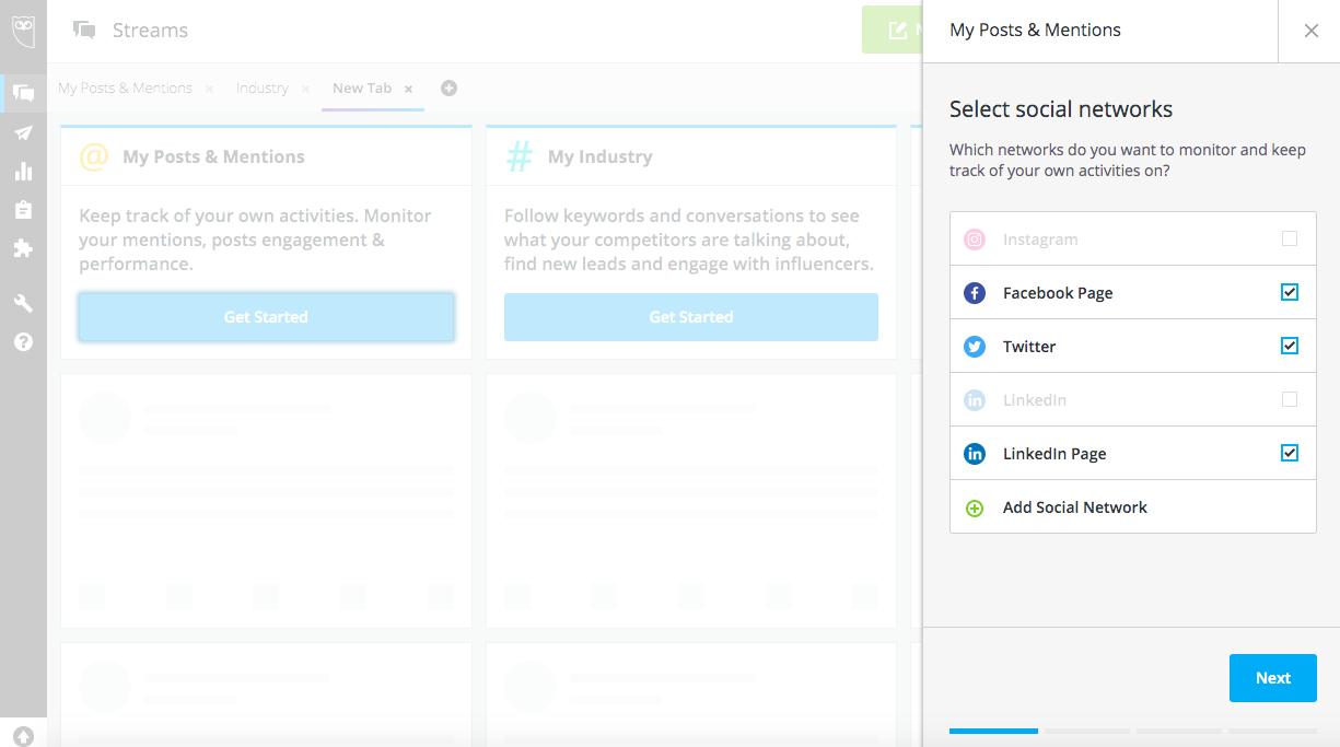 "Hootsuite平台內點選你要顯示在""我的貼文和監測內容""的畫面"
