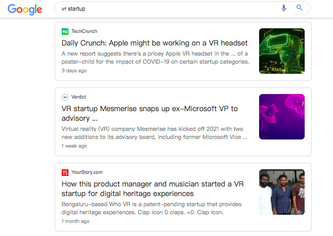 """A screenshot of the search results for the query """"vr startup"""" under the Google news tab"""