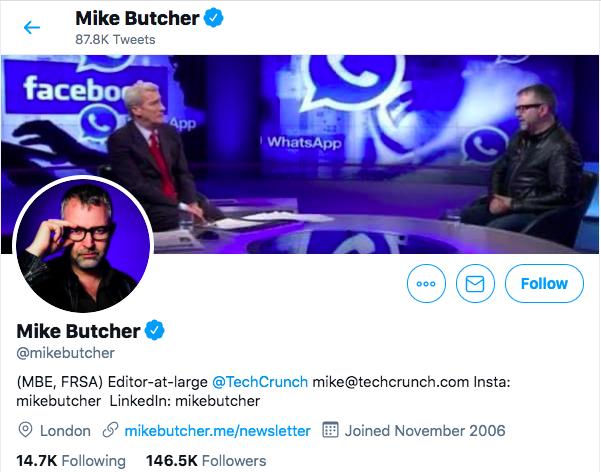 TechCrunch journalist Mike Butcher's twitter profile