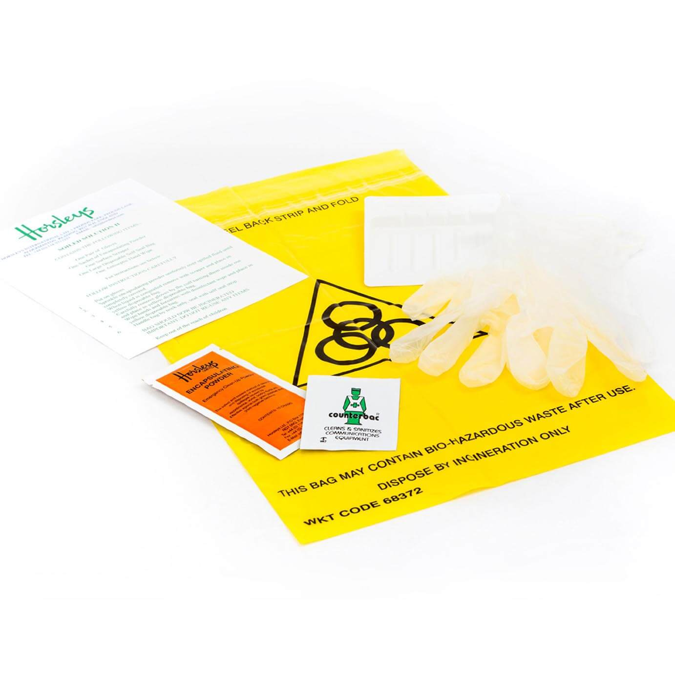 Accident cleaning kit for airline industry