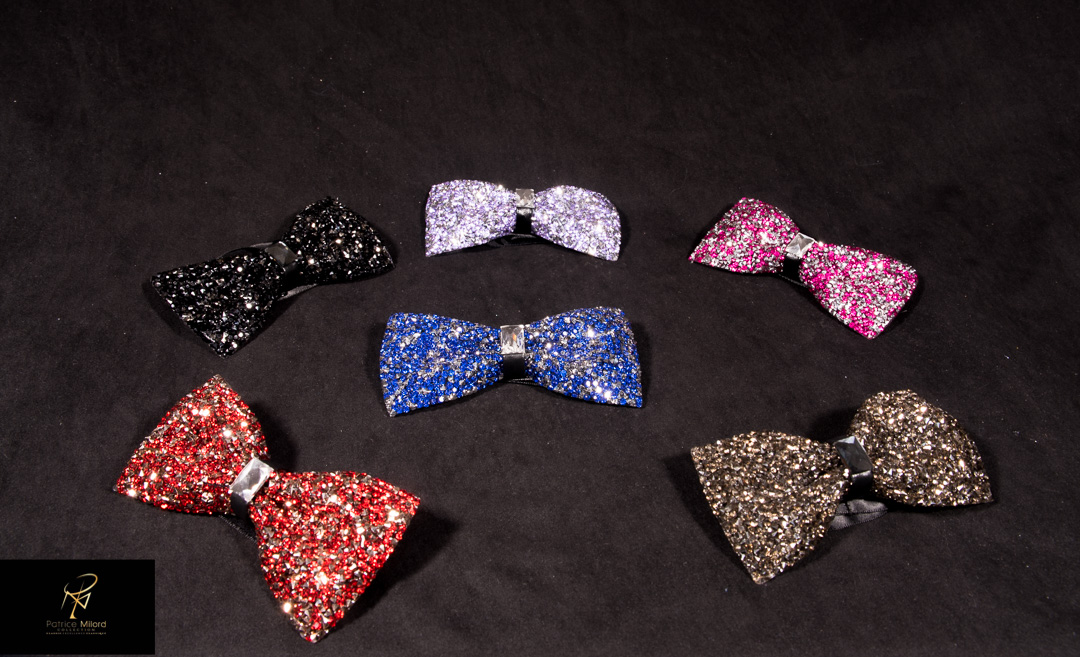 Assorted bowties on black cloth