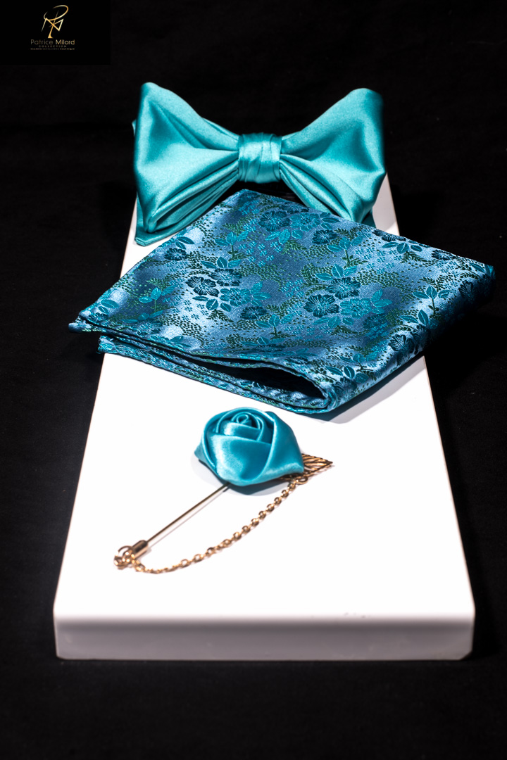 Turquoise pocket square and bowtie