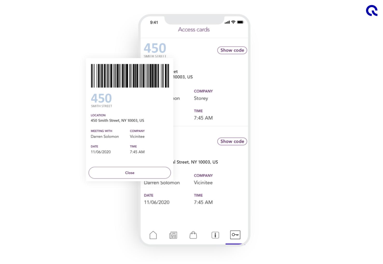 Access control via the Equiem tenant experience app.