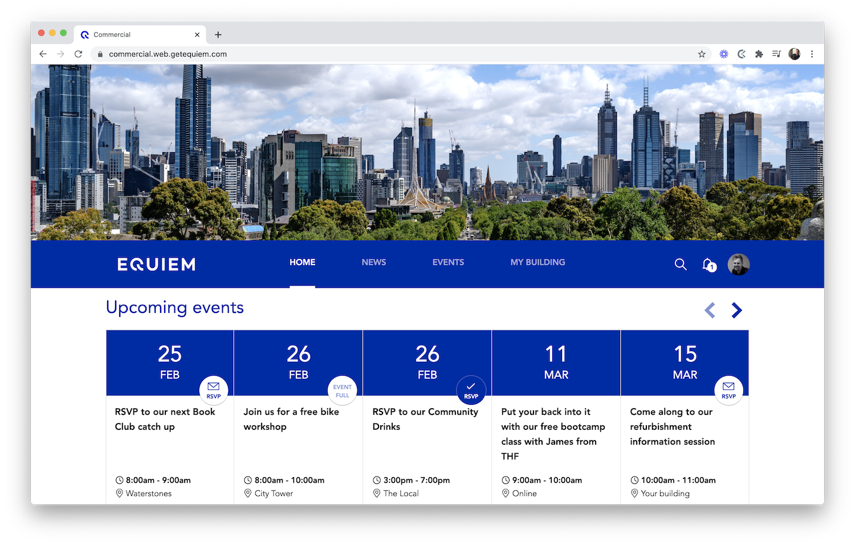 Custom-branded Equiem web app.