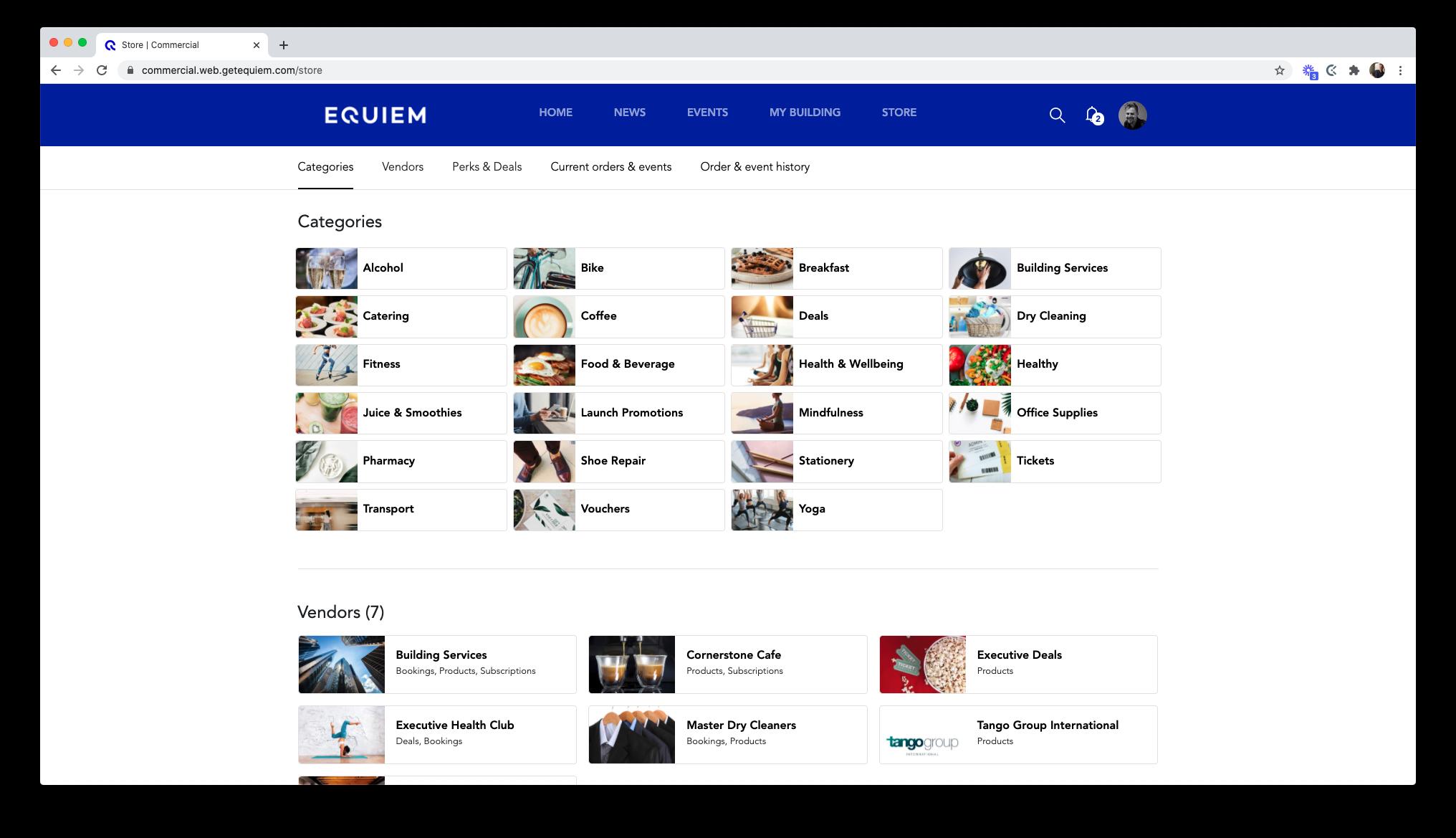 The store page of Equiem's marketplace e-commerce platform.