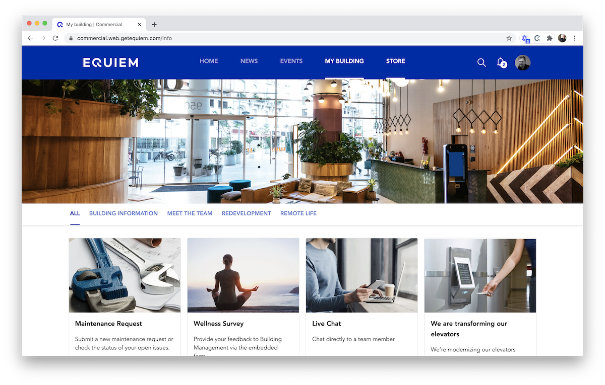 Static building information page on Equiem's tenant experience platform.