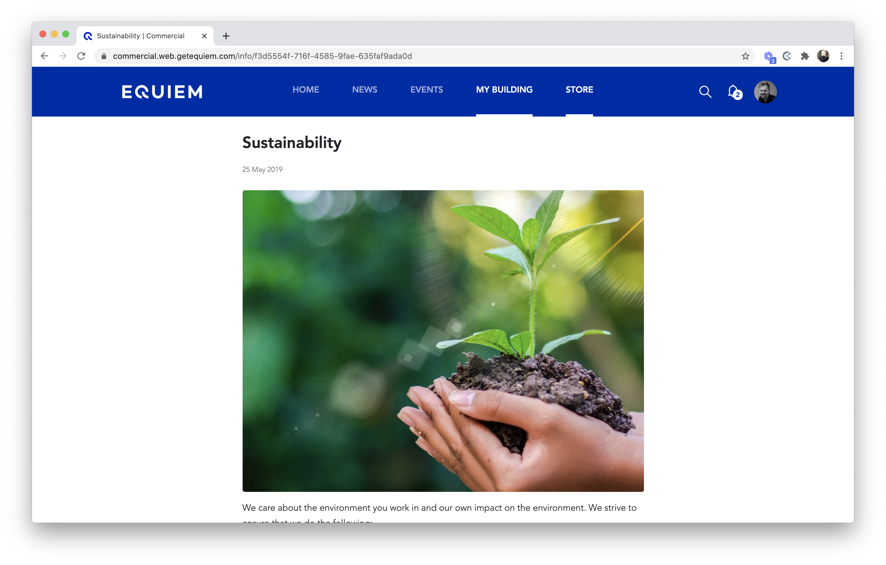 An example of sustainability content on Equiem's tenant experience platform.