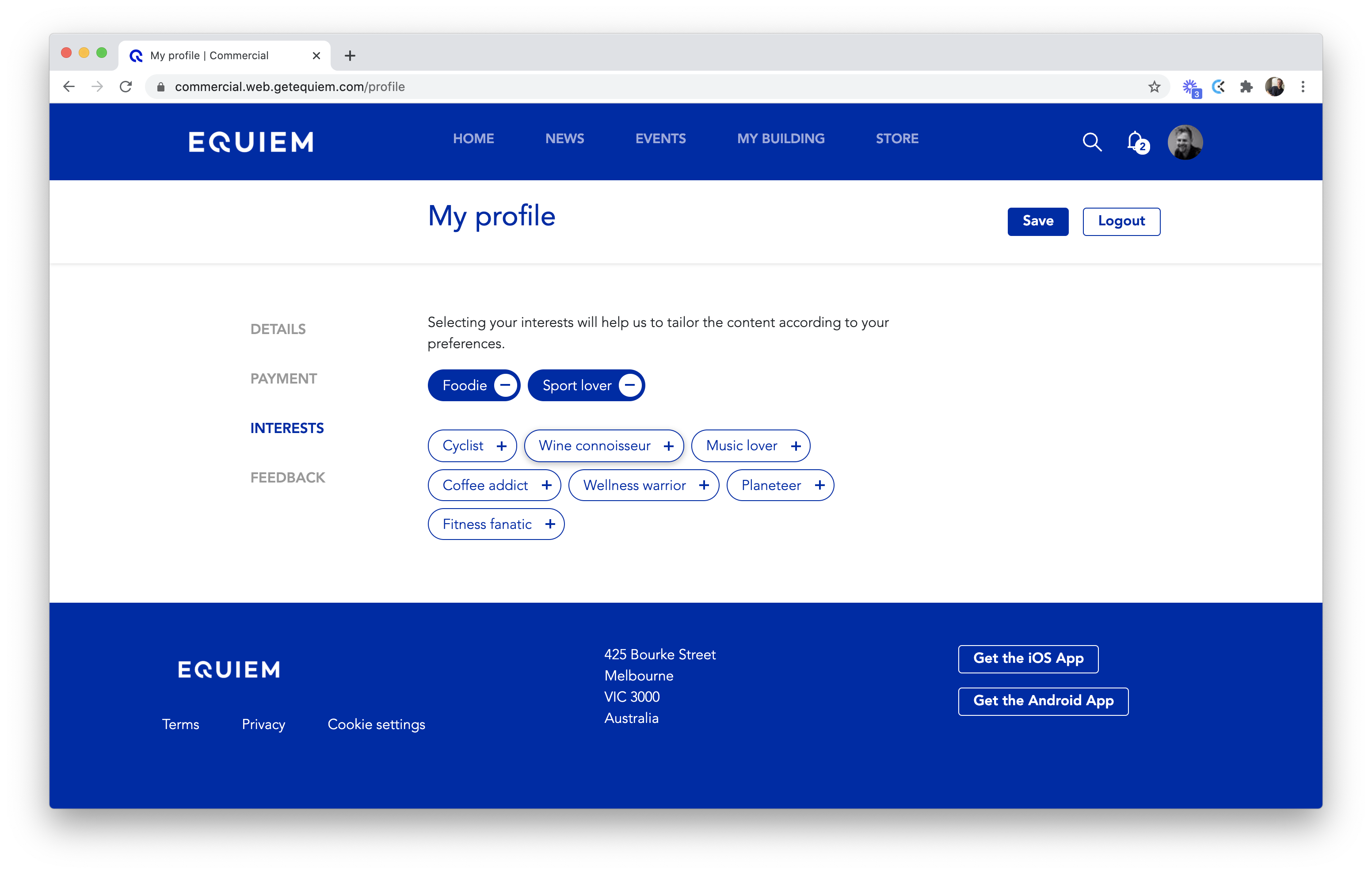 The 'interests' section of the Equiem tenant experience platform.