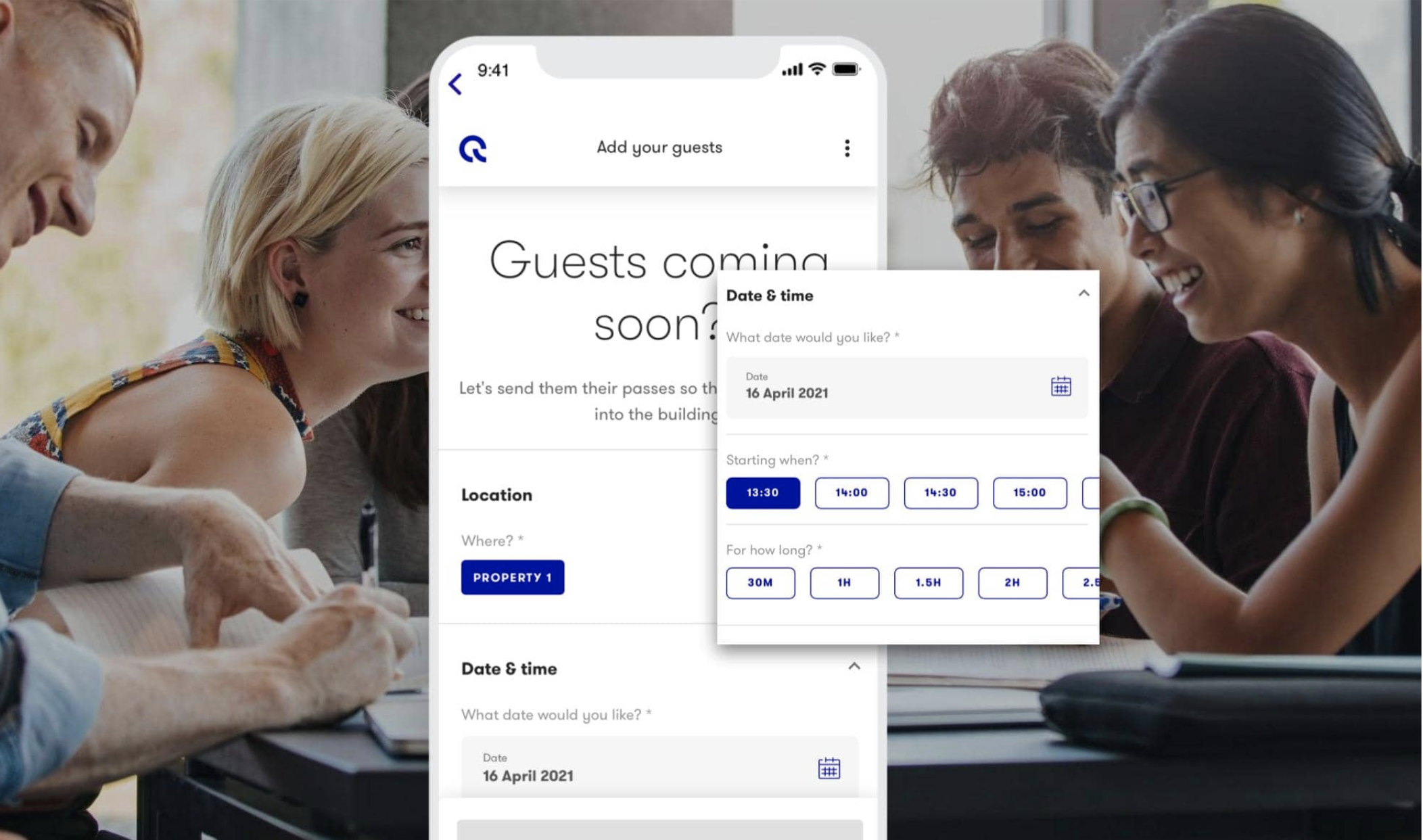The pre-booking functionality of Vicinitee's visitor management software.