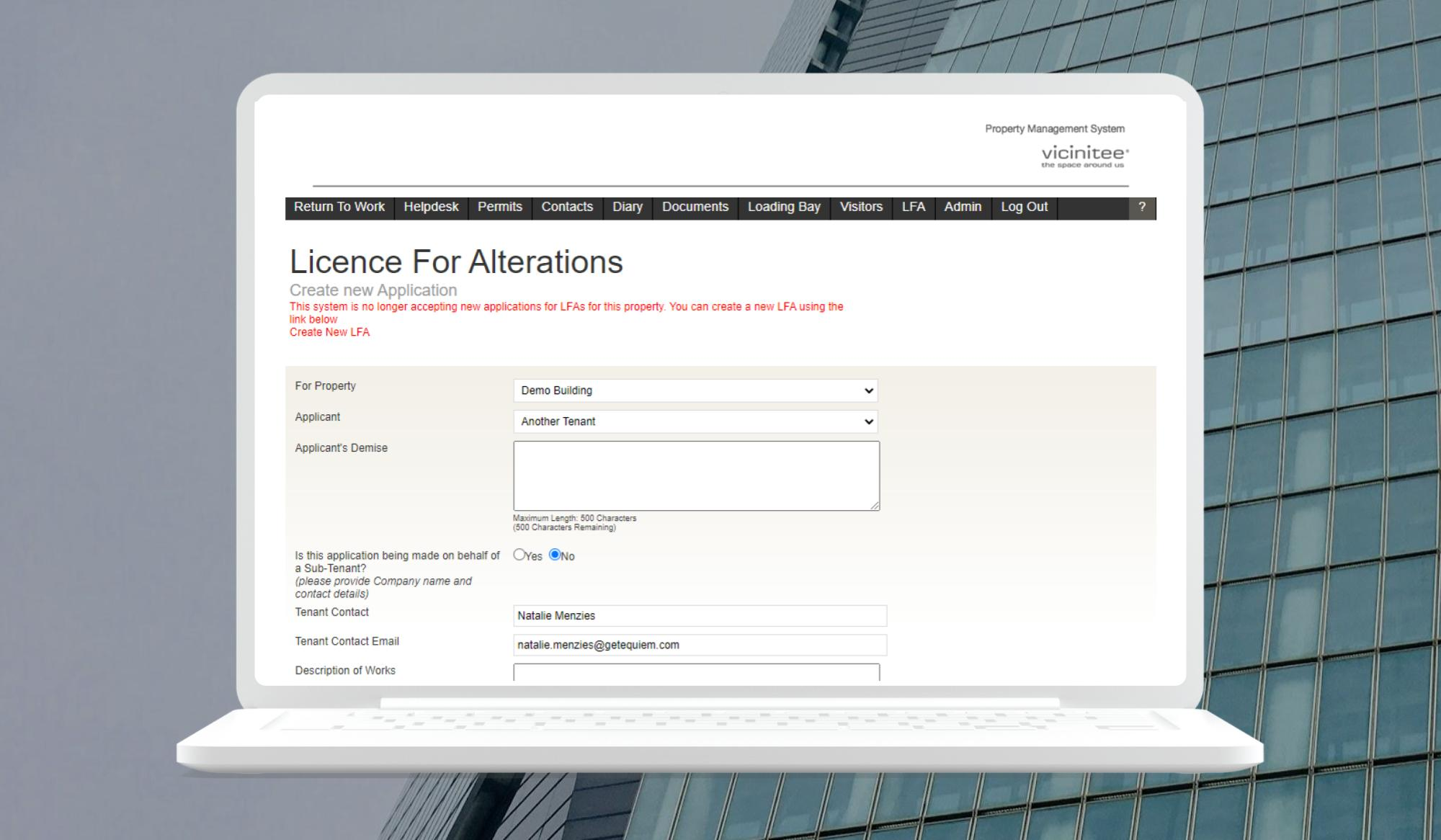 License for Alteration System for Commercial Office Buildings   Vicinitee Property Management Software