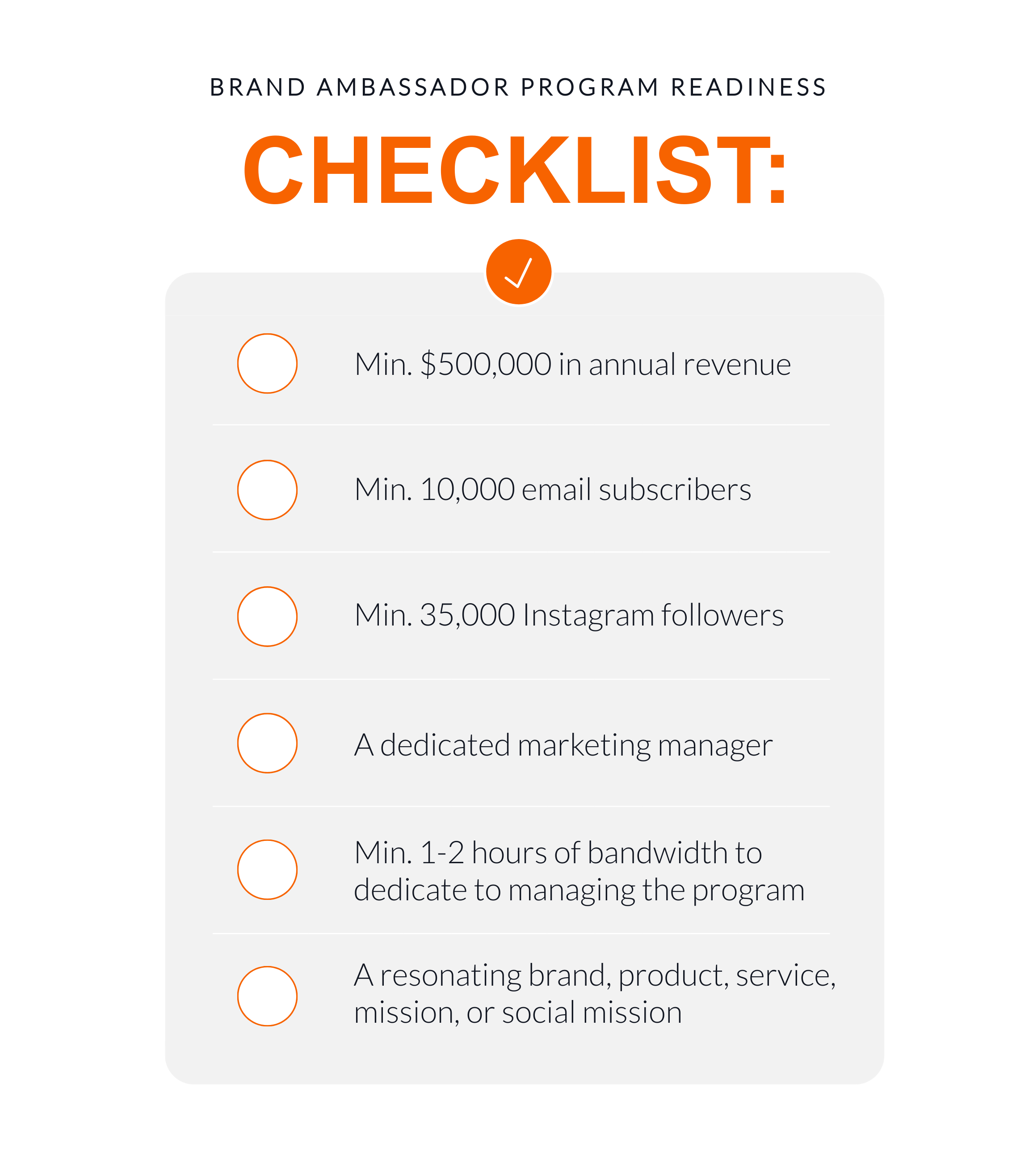 Image of the brand ambassador program readiness checklist
