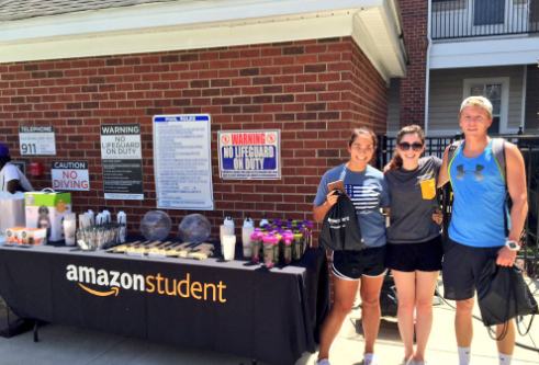 Amazon student ambassadors at an event in workout clothing