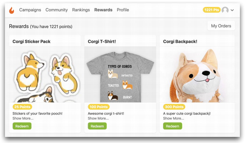 The Rewards tab on CrewFire that shows different types of rewards like a Corgi backpack and Corgi shirt