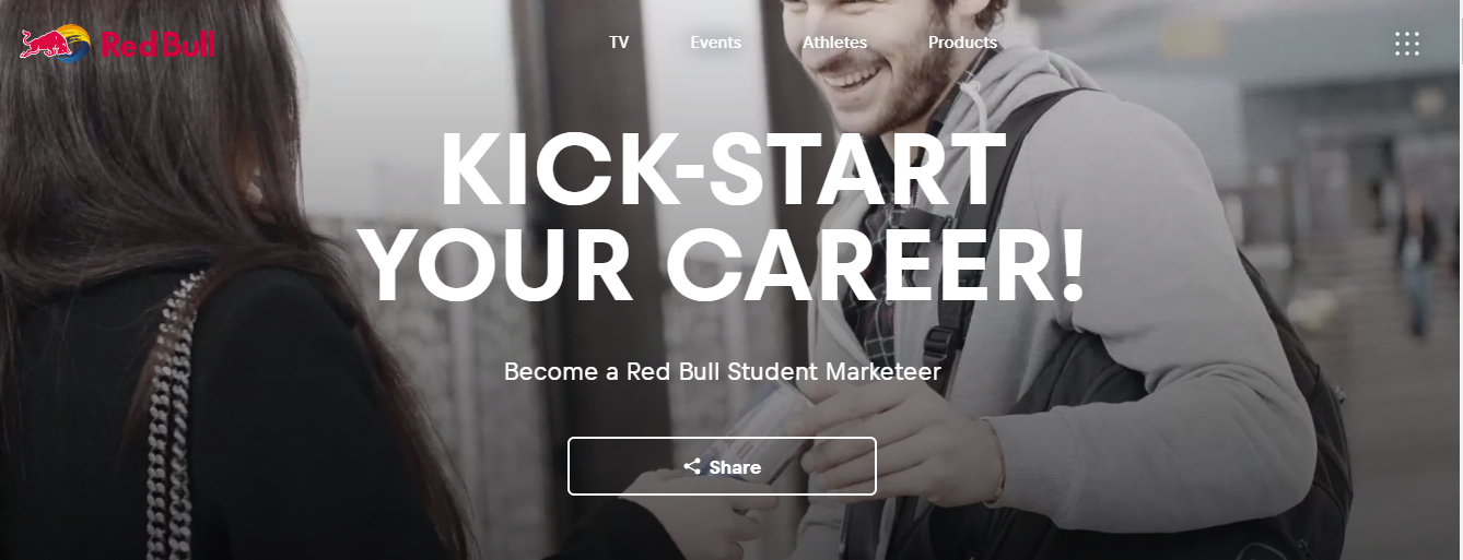 Red Bull student marketer recruiting page