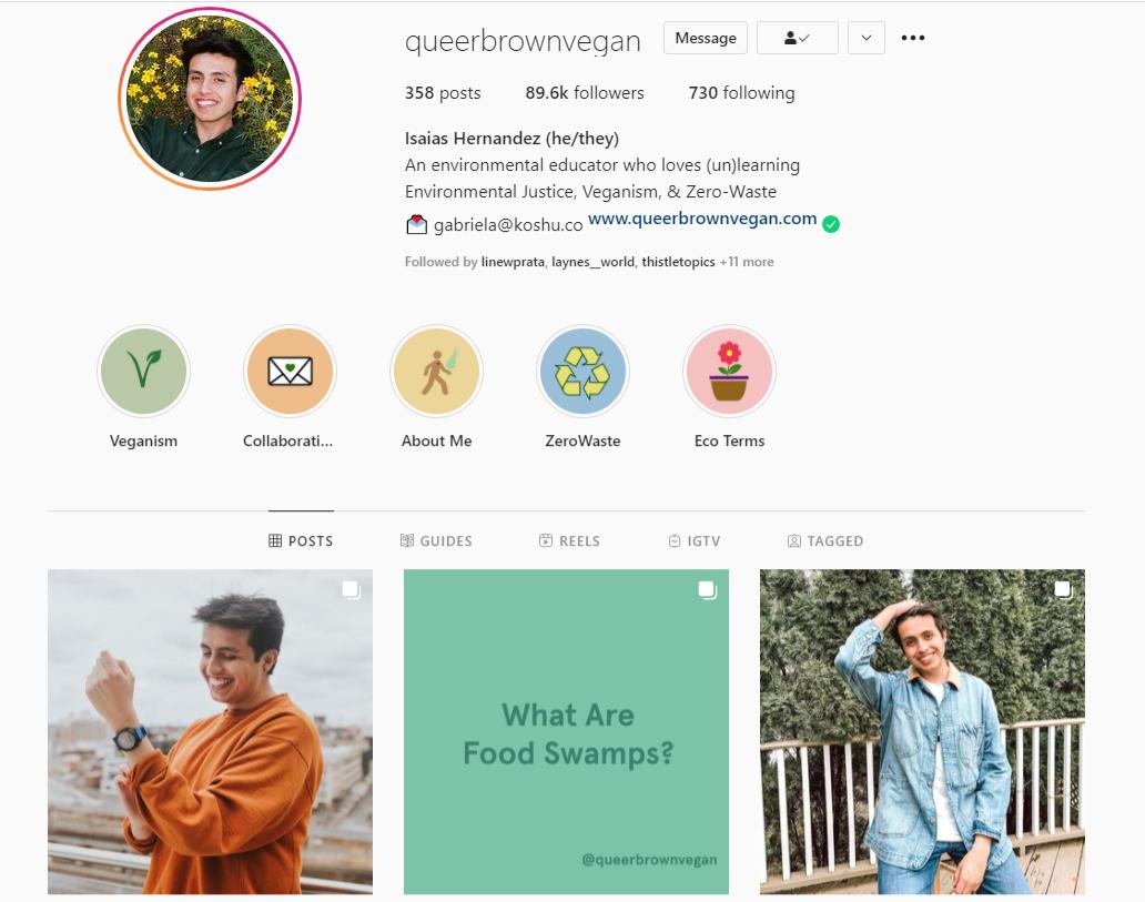 queer-brown-vegan-Isaias-Hernandez-Instagram-Profile