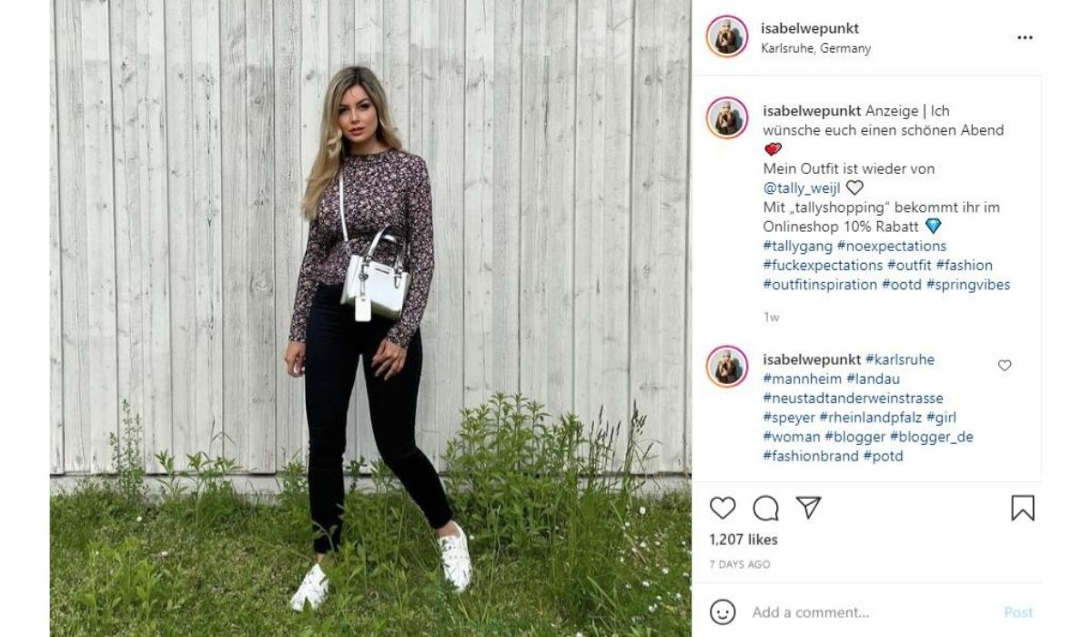 Tally Weijl influencer with their disount code in the caption