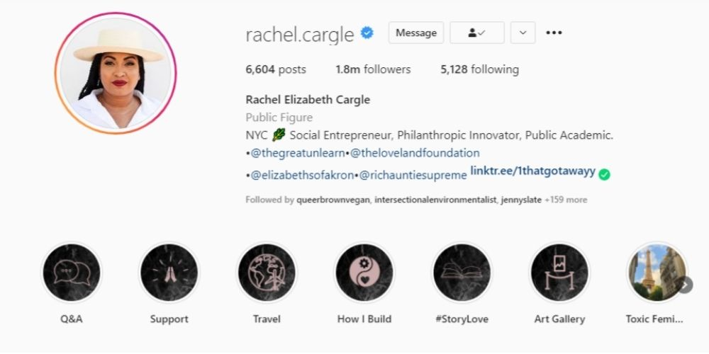 Rachel Cargle's Instagram bio with her Patreon attached