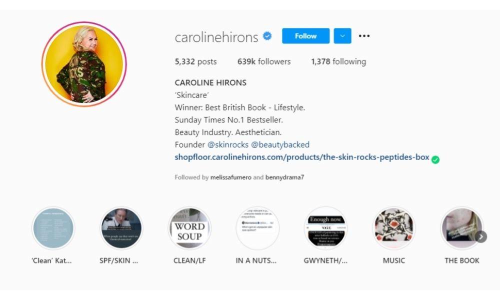 Caroline Hirons's Instagram Bio