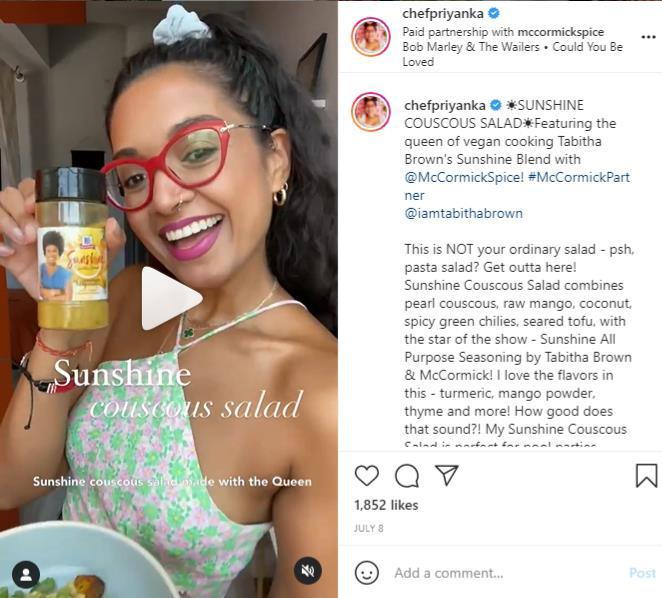 Chef Priyanka paid partnership with McCormick