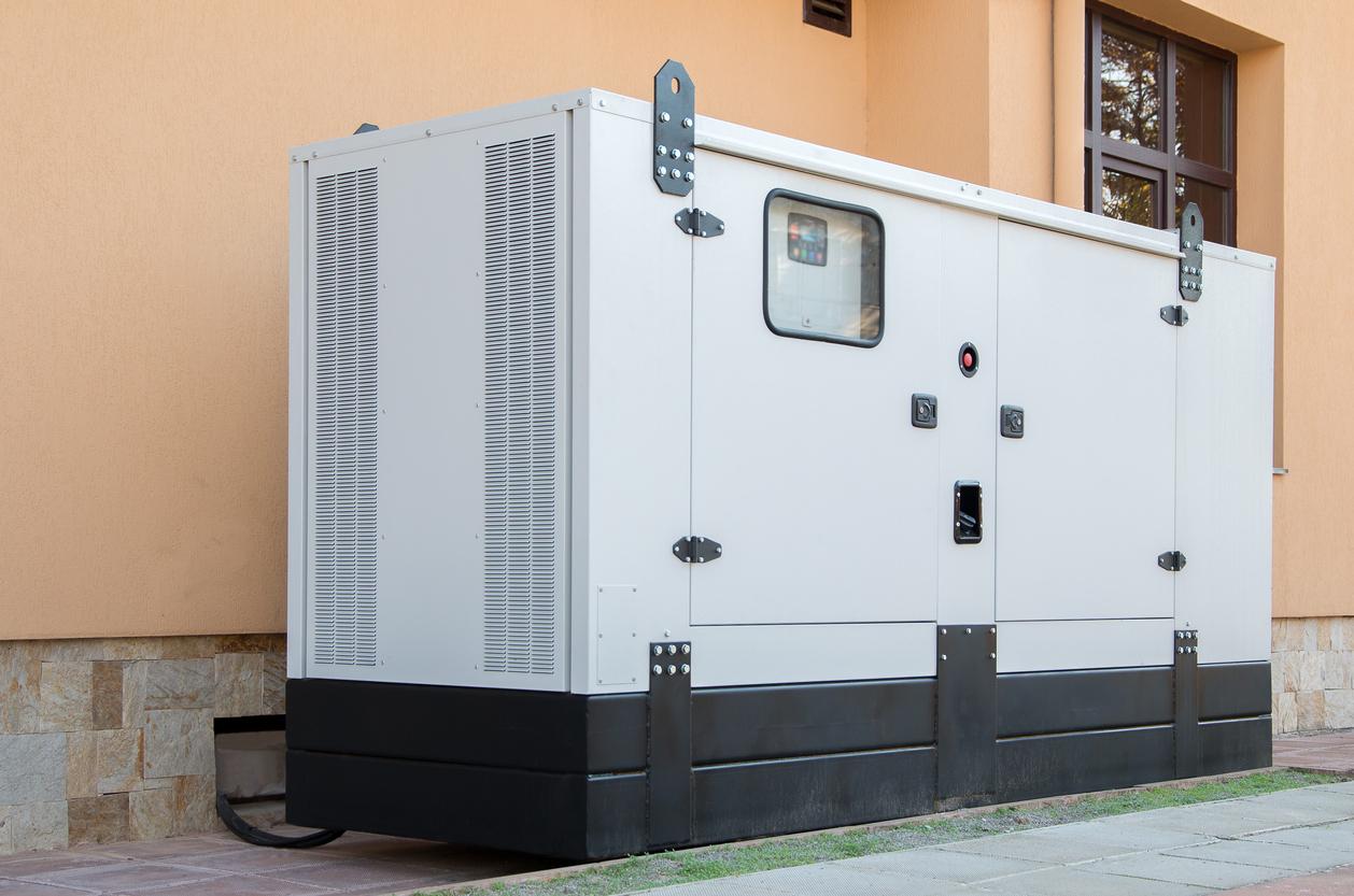 white-black-emergency-generator
